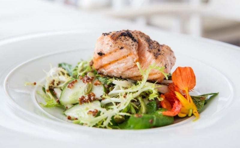 Fresh salad with salmon