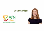 Dr Laura Wyness, headshot membership logos for association for nutrition