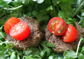 Energising seed burgers with salad