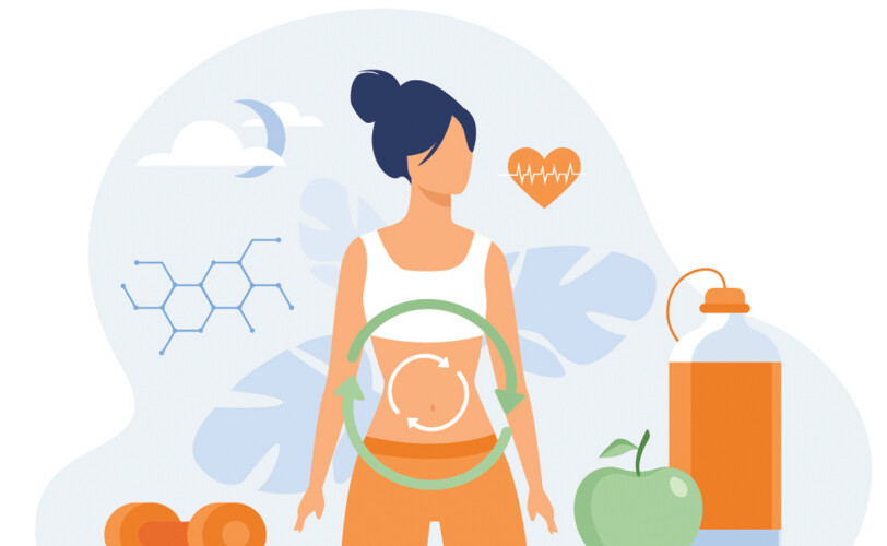 Illustration of woman with weights and healthy food