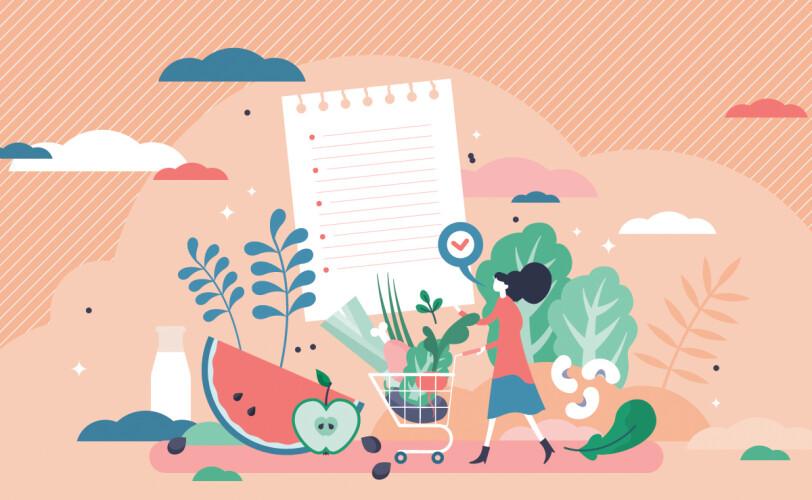 Illustration of healthy food shop