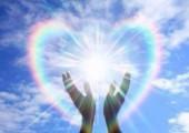 healing hands, blue sky