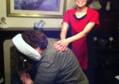 Happy at the acupressure massage therapy
