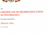My Certificate of Higher Education in Psychology, accredited by The British Psychology Society.
