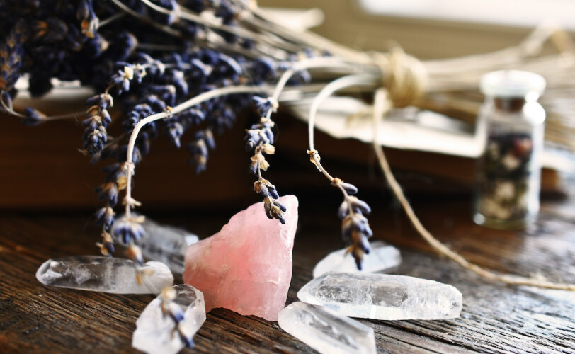 Rose quartz and clear quartz crystal with dried lavender