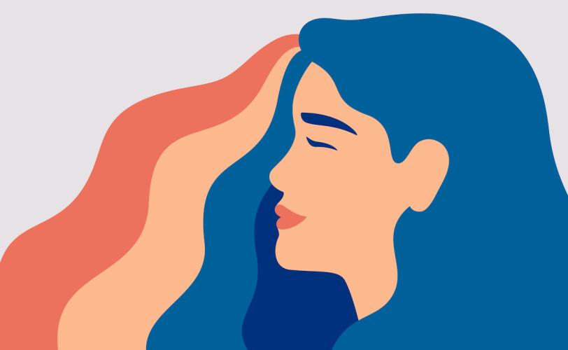 Woman with rainbow coloured hair